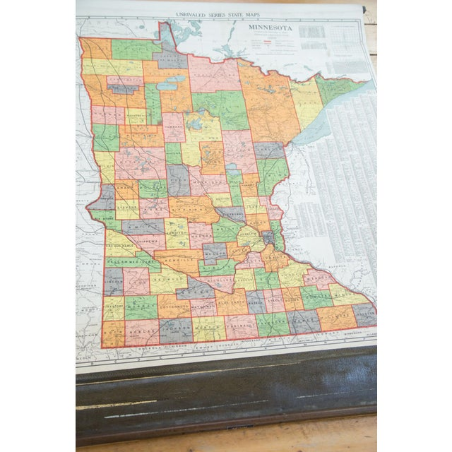 Antique Nystrom Pull Down Map of Minnesota - Image 4 of 9