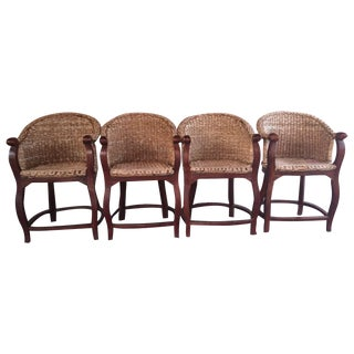 Vintage Banana Wicker Counter Stools - Set of 4