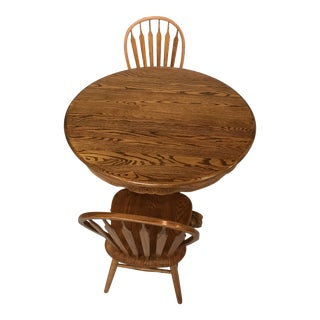 Traditional Extendable Oak Table & Chairs - Set of 3