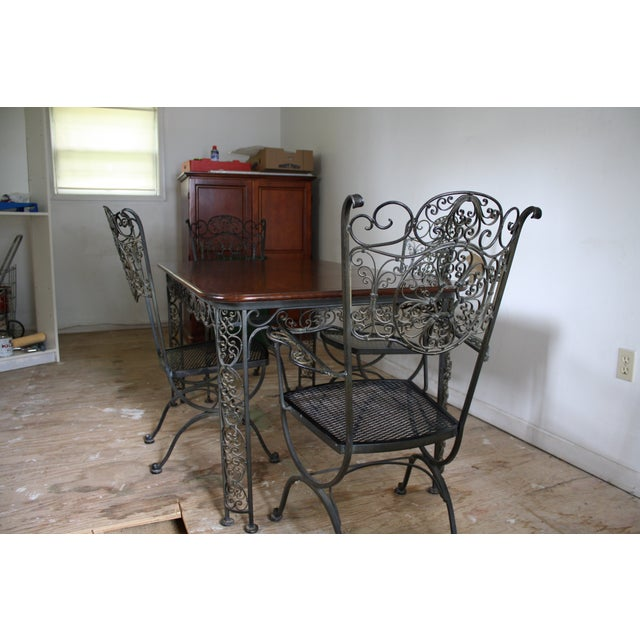 Woodard Wrought Iron & Cherry Dining Set - 5 Piece
