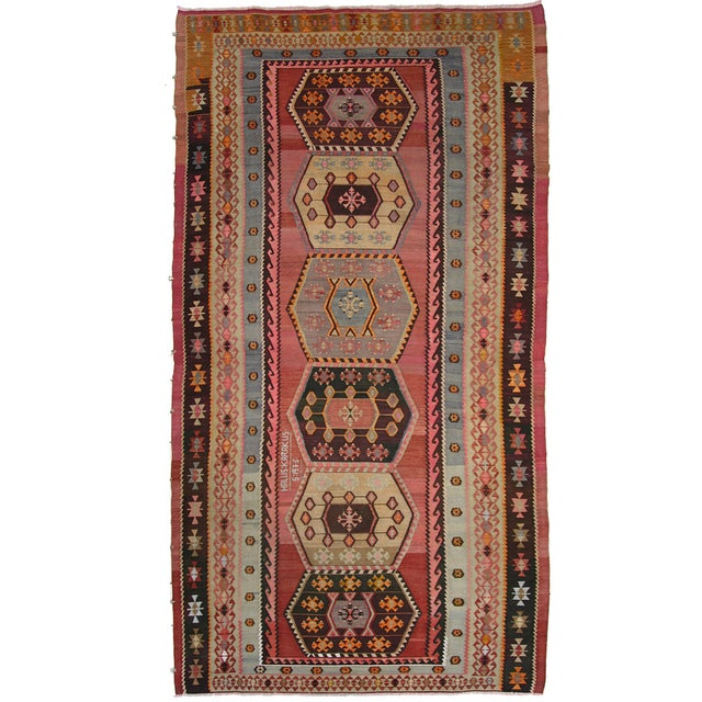 "Vintage Turkish Kilim Rug - 7' X 13'3"" - Image 1 of 8"