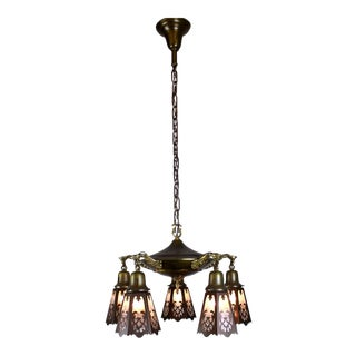 5 light Pan Fixture with Clear Glass Cut-Out Shades.