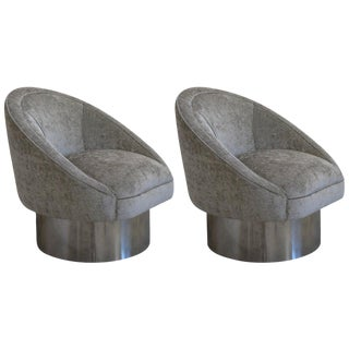 Pair of 360 Degree Swivel Chairs with Polished Steel: Leon Rosen for Pace