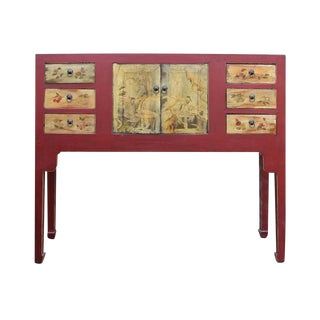 Chinese Oriental Red Console Table