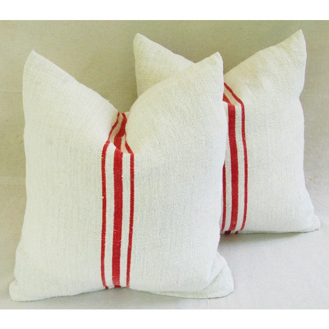 Image of French Red Stripe Grain Sack Pillows - Pair