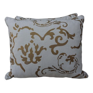 White and Gold Stenciled Nomi Pillows - A Pair