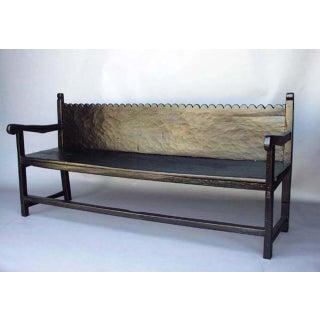 Custom Walnut Wood Bench With Scalloped Back in Ebony Finish