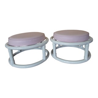 Mid-Century White Lacquer Bamboo Footstools Upholstered in Pink Vinyl - A Pair