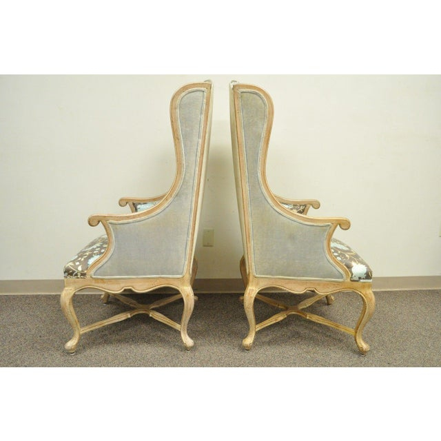 Hollywood Regency French Country Carved Wingback Chairs - A Pair - Image 4 of 11