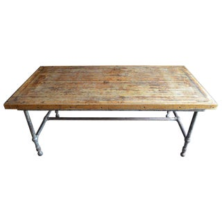 Dining Table/Kitchen Island from Restaurant with Oak Top and Steel Frame