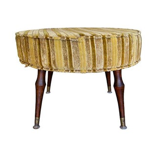 Vintage 1950's Round Upholstered Stool