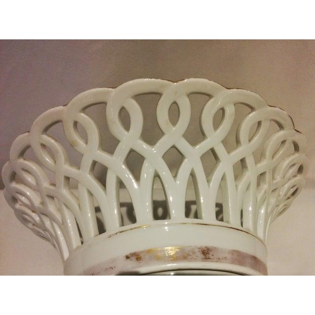 Antique Parisian White Porcelain Fruit Basket - Image 6 of 9
