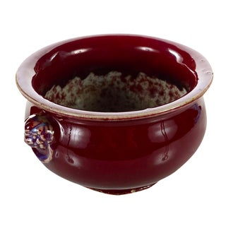 Antique Chinese Oxblood Flambe Ceramic Bowl