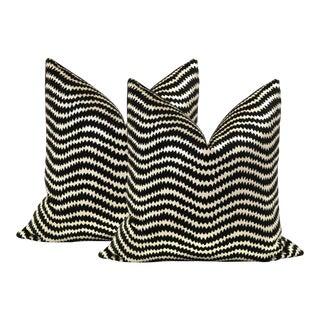 """22"""" Noir Ziggy Velvet Pillows - a Pair"""
