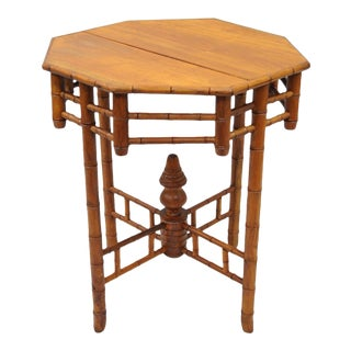 Vintage Octagonal Oriental English Victorian Style Faux Bamboo Teak Side Table