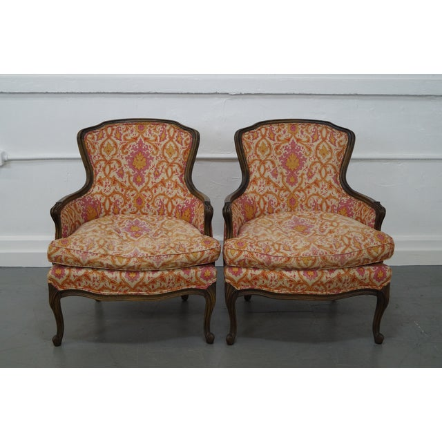French Louis XV Vintage Red Bergere Chairs - Pair - Image 2 of 10