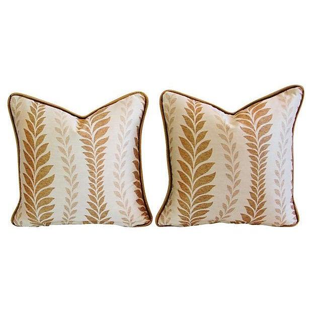 Iman Golden Zahra Golden Leaf Pillows - A Pair - Image 5 of 7