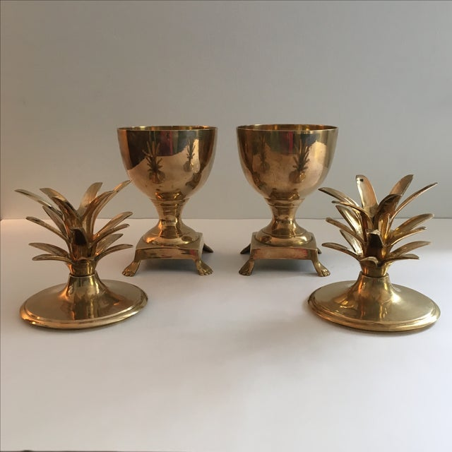 Vintage Brass Pineapple Urn Containers - A Pair - Image 3 of 6