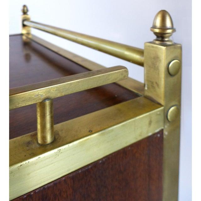 Bi-Level Brass Rolling Bar Trolley W/ Wood Accents - Image 6 of 10