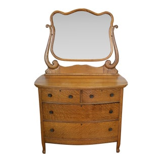 Antique Victorian Quartered Oak Dresser & Mirror
