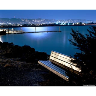 Moonlit Bench - Night Photograph by John Vias