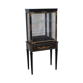 Vintage Black Chinoiserie Painted Small Curio Display Cabinet