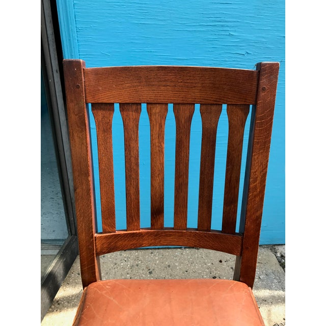 Stickley Mission Cottage Oak & Leather Side Chairs - A Pair - Image 8 of 11