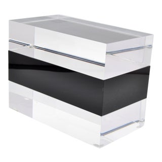 Clear Lucite With Black Center Jewelry Box