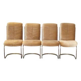 Brass Cantilevered Dining Chairs - Set of 4