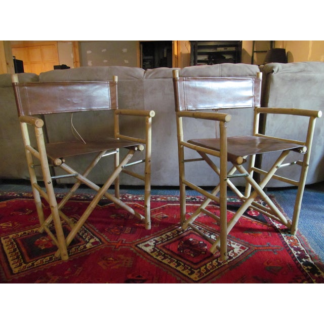Custom Leather Director's Chairs - Pair - Image 3 of 4