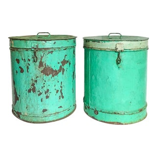 Large Indian Turquoise Painted Canisters, a Pair