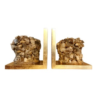 Quartz Stone Gold Leaf Bookends - A Pair