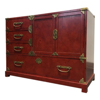 Century Furniture Red Asian Campaign Style Chest Console Sideboard