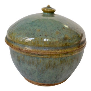 Celadon Earthenware Lidded Jar