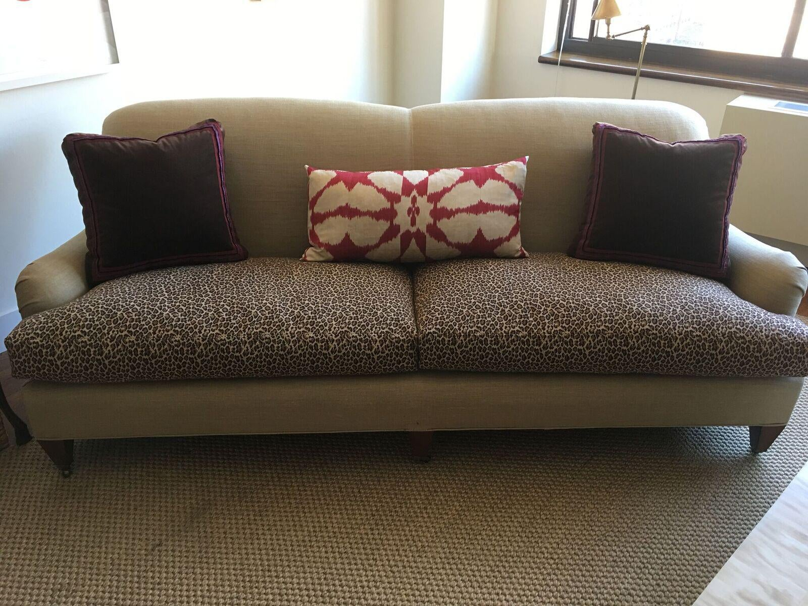 Custom Linen Covered Sofa With Leopard Print Seat Cushions   Image 4 Of 12