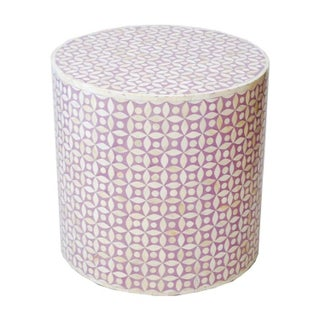 Indian Bone Inlaid Drum Stool / Table Lavender