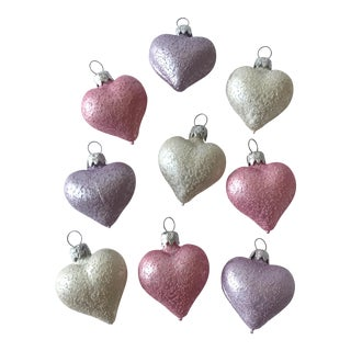 West Germany Blown Glass Heart Ornaments - Set of 9