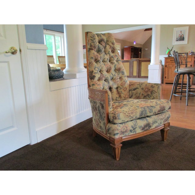 Tufted High Back Armchair - Image 9 of 11