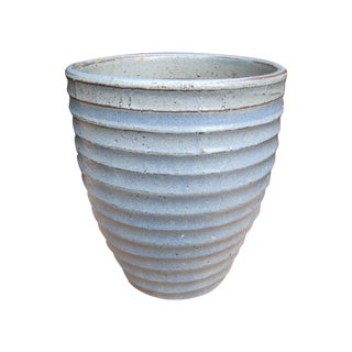 Hand-Thrown Ceramic Blue-Gray Pottery Planter