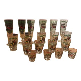 Vintage Classic Cars Holiday Cocktail Set - Set of 19