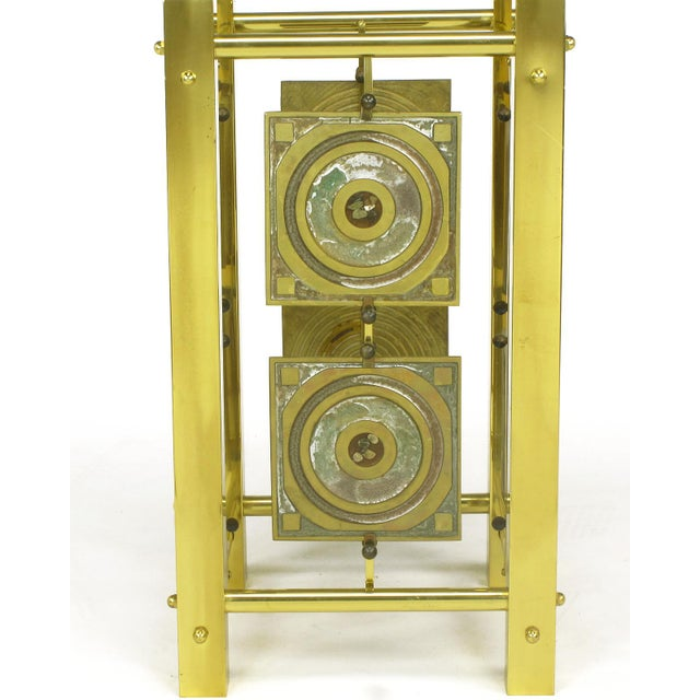 Image of Postmodern Enameled Brass Panel Studio Side Table