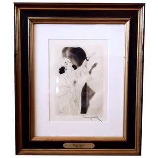 """""""A Revealing Pose""""  Etching by Louis Icart"""