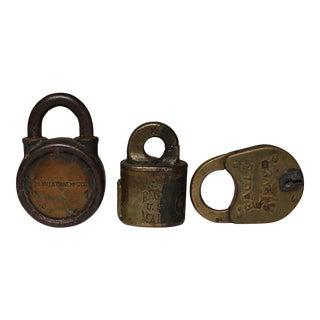 Vintage Bronze and Steel Padlocks c. 1930-1940s - Set of 3