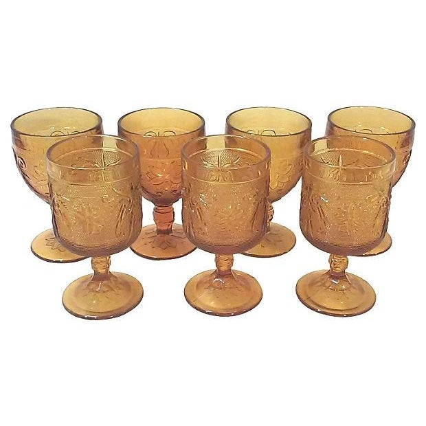 Image of Mid-Century Amber Stemware - Set of 7