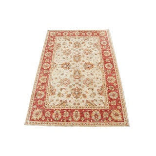 "Traditional Sultan Abad Afghani Hand Knotted Rug - 4'8"" X 6'5"""