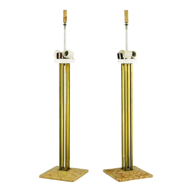 Image of Pair of circa 1950s Stiffel Rouge Marble and Square Brass Columns Table Lamps