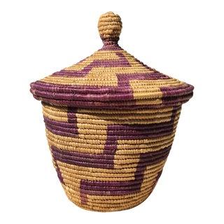 Vintage Bohemian Geometric Grass Lidded Basket