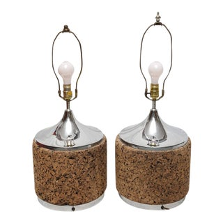 1950s American Cork Laurel Lamps with Chrome - A Pair