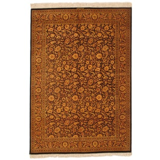 """Pasargad N Y Persian Qum Pure Silk Hand Knotted Area Rug - 4'5"""" X 6'4"""""""