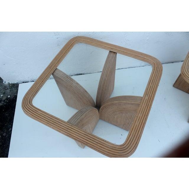 Chic Rattan Coffee Table: Gabriella Crespi Style Rattan Coffee End Tables